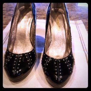 Studded 3.5 inch black heels